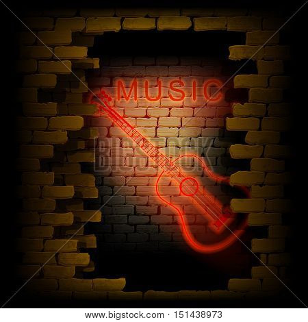 The inscription music with guitar neon light tubes in the doorway of an old brick wall. The image created on a black background with no boundaries and can be used on any image or text.
