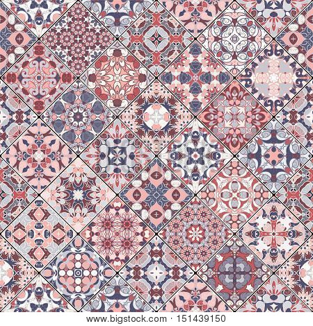 Collection of abstract patterns in the mosaic set. Square scraps in oriental style. Vector illustration. Ideal for printing on fabric or paper.