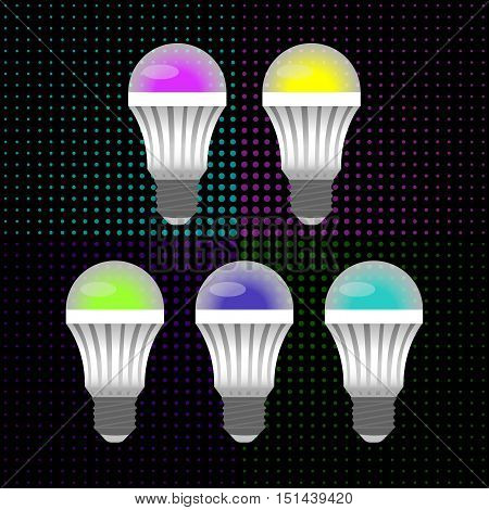 five multicolored LED energy saving light bulbs in the background of small circles