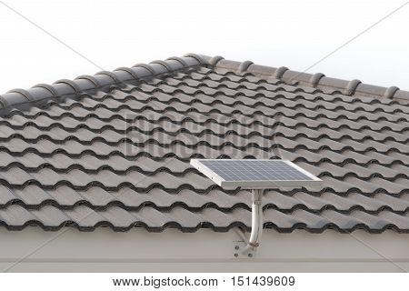 Solar panels over roof tiles of new house isolated on white background.