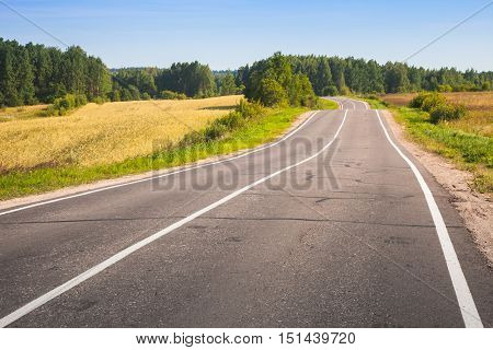 Empty Turning Rural Highway Photo