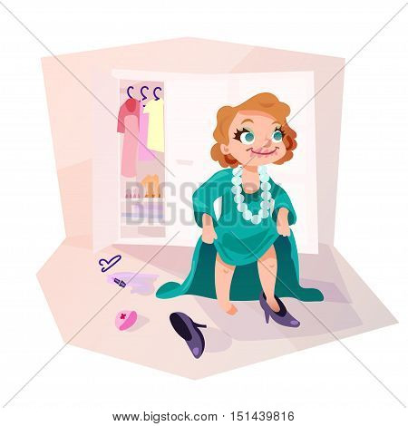 Little kid girl trying on mothers dress and shoes applying make up. Isolated female child in funny cartoon style.