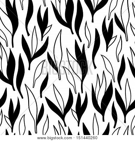 Hand-drawn ornamental lineart collection. Vector black and white nature leaves chic boho tribal illustration set.