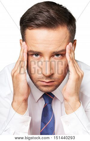 Portrait of an Concentrated / Having Headache Businessman