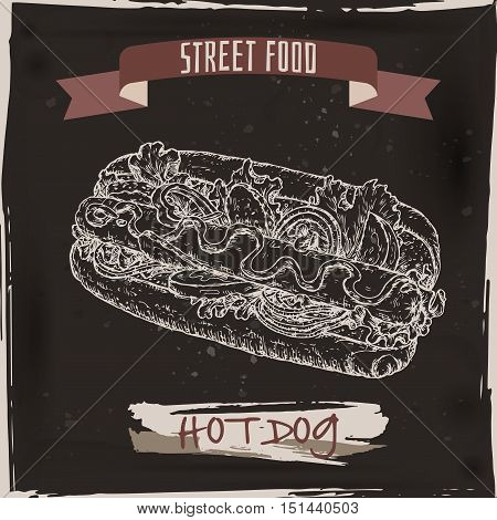 Hot dog sketch on black grunge background. American cuisine. Street food series. Great for market, restaurant, cafe, food label design.