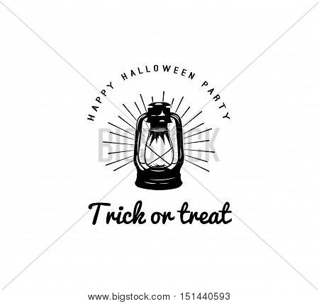 happy halloween. trick or treat. night party lable with lamp. Burning lantern isolated on white