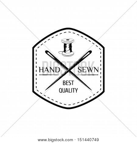 vector logo for tailor shop with button and needle