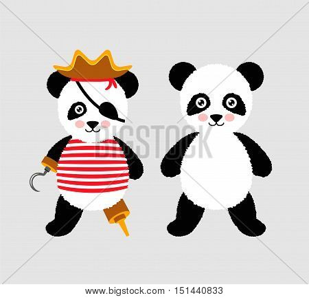 Cute panda pirate standing with hat and hook.