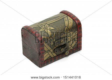 Treasure box Vintage Old Storage Box Isolated On White Background