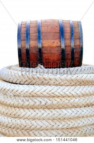 oak barrel marine rope isolated on white background