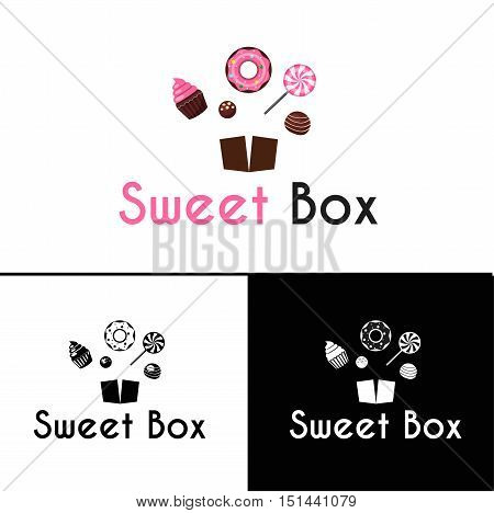 Sweetshop confectionary cake store donuts desserts symbols and ice-cream emblems labels collection sketch abstract isolated vector illustration
