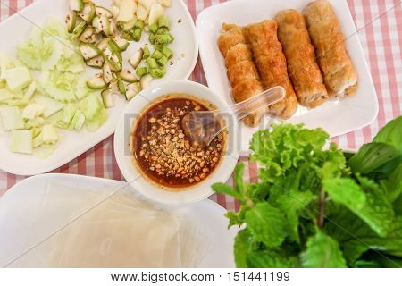 Set Of Due Nham Made Of Pork Vietnam With Dipping Sauce