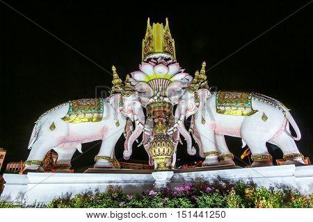Three Erawan Statues And Symbols King, In Front Of Grand Palace, Emerald Buddha Temple, Wat Phra Kae