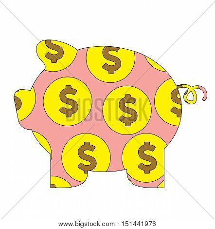 Pig Money Box Bank Coin Isolated Cartoon Vector Flat Illustration - Pig Money With White Background -