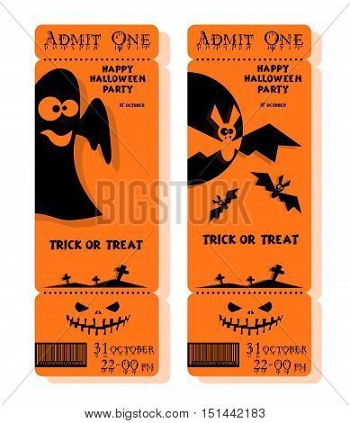 Set of funny holiday ticket: title Happy Halloween party Trick or Treat and bats ghost. Concept for design banners cards flyers posters. Vector illustration in flat or kids paper applique style