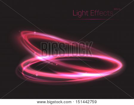 Pink neon ovals or circles for light effect background. Swirl shiny rings made of plasma particle radiance. Can be used for luminosity template or abstract background for brochure, poster