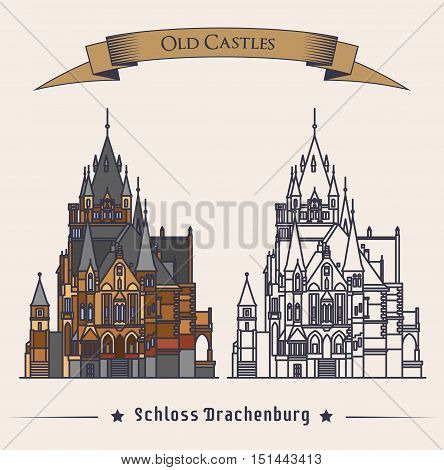 Schloss Drachenburg castle building at konigswinter. Facade of construction or structure as gothic symbol, retro mansion logo with exterior view, old stronghold badge or symbol. Historical theme