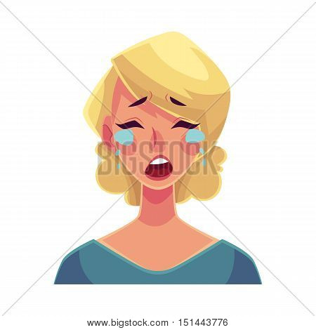 Pretty blond woman, crying facial expression, cartoon vector illustrations isolated on white background. Beautiful woman crying, shedding tears, sad, heart broken, in grief. Angry face expression