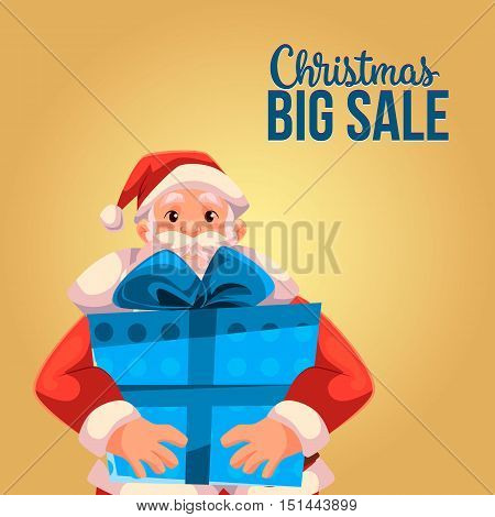 Cartoon style Santa Claus holding a big box, Christmas vector sale banner, gold background, text at the top. Half length portrait of Santa holding a large blue box, Christmas sale banner template