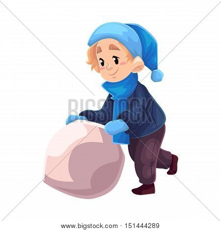 Little boy in winter clothes making a snowman, cartoon style vector illustration isolated on white background. Little kid in blue hat and scarf in warm winter clothes pushing a snowball