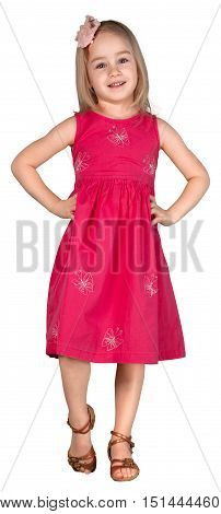 Lovely Girl in Dress Standing with Hands on Hips - Isolated