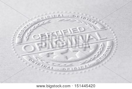 3D illustration of an embossed stamp with the text certified original paper background horizontal image. Concept of authenticity.