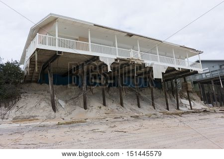 NORTH VILANO BEACH, FLORIDA, USA - OCTOBER 11, 2016: Aftermath of a beach house after Hurricane Matthew blew along the east coast of Florida on October 7, 2016.