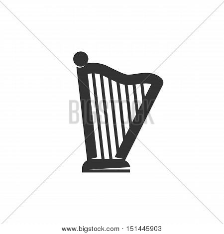 Harp Icon isolated on a white background. Harp Logo design vector template. Simple Logotype concept icon. Symbol, sign, pictogram, illustration - stock vector
