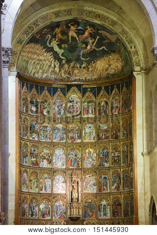 SALAMANCA SPAIN - AUGUST 2 2016: Retable (1430-1450) of the Old Cathedral or Catedral Vieja of Salamanca Spain.