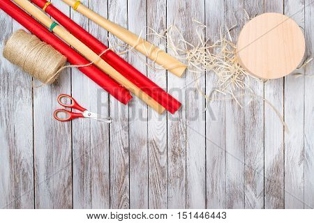 Preparing gifts. Christmas holiday celebration. View from above with the copy space.Valentines day. Birthday celebration.