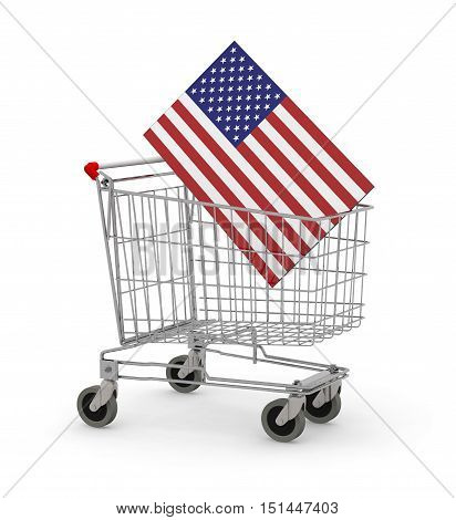 Shopping Cart With Usa Flag