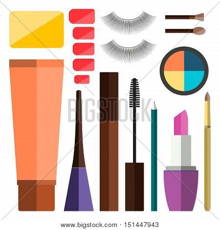 Set of vector flat colorful cosmetics make up icons