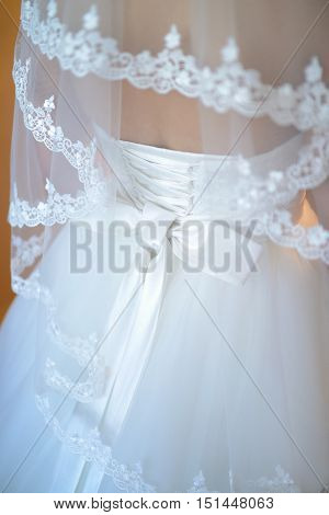 Beauty bride in bridal gown with lace veil indoors. Beautiful model girl in a white wedding dress. Female portrait of cute lady.