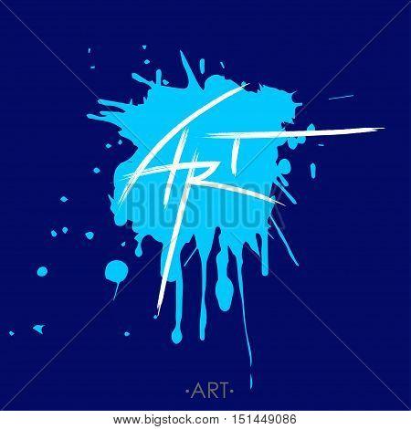 stylized written word art lettering, on the blue backgrund