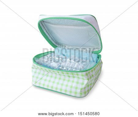 Medicine in Green Cooler Bag isolated on white background