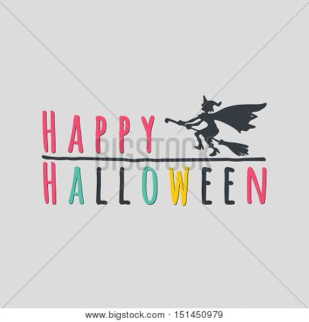 Happy Halloween lettering greeting cards. Horizontal banner with a black silhouette of a flying witch on a broom isolated on the grey background. Cartoon style. Vector illustration.