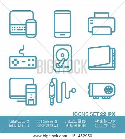 Technology and hardware icons set. 22 pixel size, pixel perfect linear style