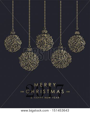 Gold Christmas And New Year Ornamental Baubles