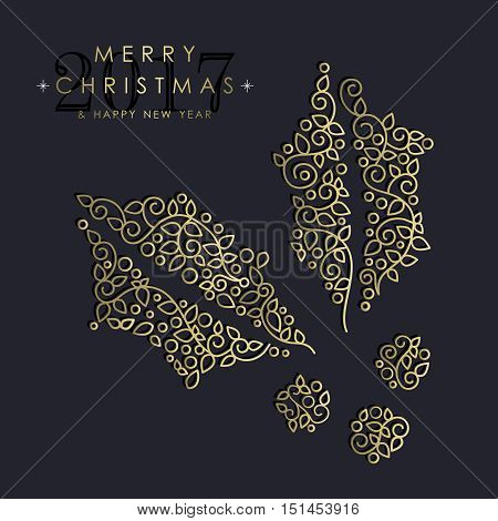 Gold Christmas And New Year Ornamental Mistletoe
