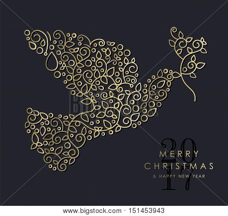 Gold Christmas And New Year Ornamental Dove Bird