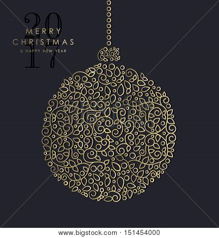 Gold Christmas And New Year Ornamental Bauble