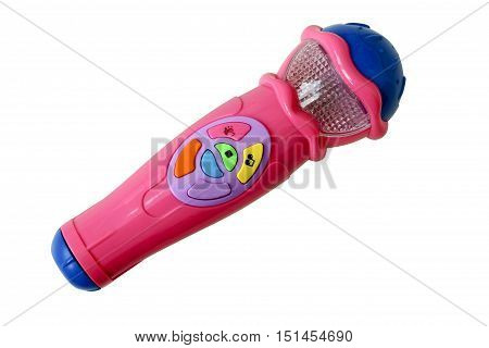 Plastic children's toy microphone isolated on white background .The toy runs on batteries.