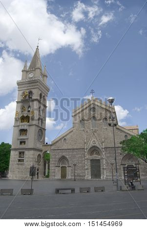 Duomo of Messina in Sicily with famous steeple