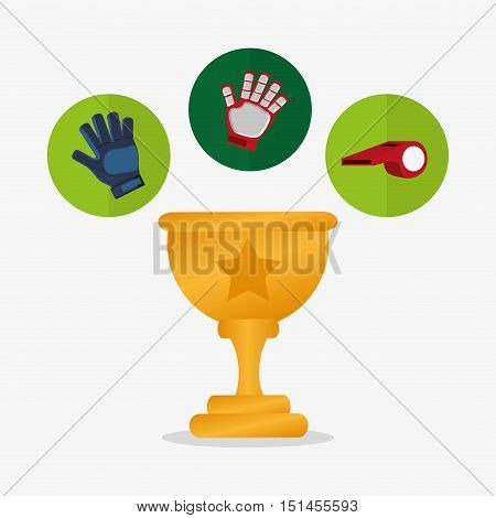 Trophy gloves and whistle icon. Soccer sport competition game and hobby theme. Colorful design. Vector illustration