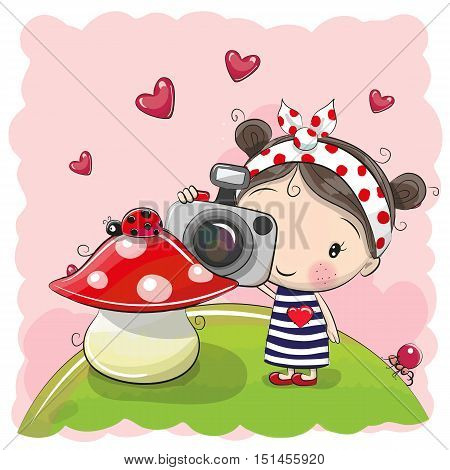 Cute cartoon Girl with a camera on the meadow