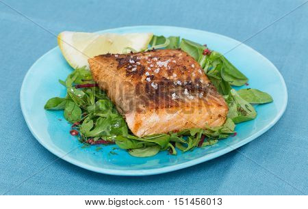 Fried Salmon Fillet With Fleur De Sel On Mixed Salad