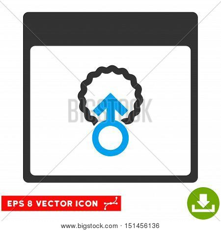Cell Penetration Calendar Page icon. Vector EPS illustration style is flat iconic bicolor symbol, blue and gray colors.
