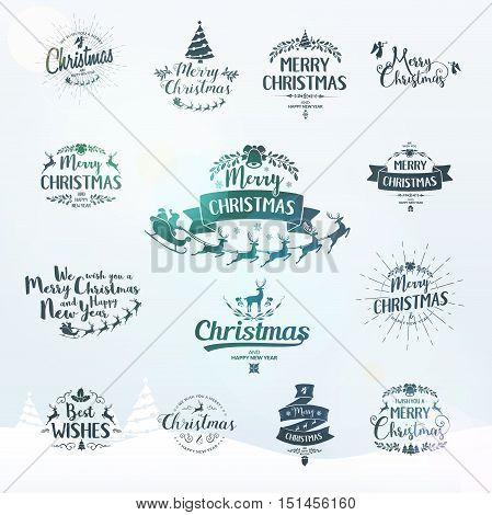Merry Christmas lettering typography. Handwriting text design with winter holidays calligraphy. Happy New Year greeting card decoration on bright background with blur lights. Abstract vector set.