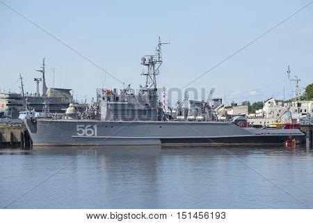 SAINT PETERSBURG, RUSSIA - JULY 18, 2015: Base minesweeper BT-115 at the naval base in Kronstadt. Historical landmark