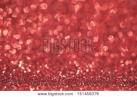 Abstract red glitter light bokeh holiday party background